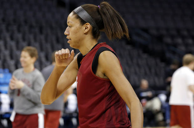 Oklahoma center Nicole Griffin (4) warms up during the press conference and practice day at the Oklahoma City Regional for the NCAA women's college basketball tournament at Chesapeake Arena in Oklahoma City, Saturday, March 30, 2013. Photo by Sarah Phipps, The Oklahoman