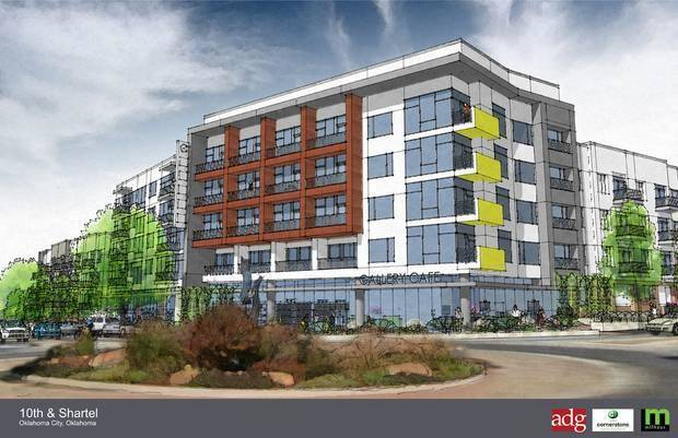 Apartments to be built next year at NW 11 and Shartel by Indianapolis based Milhaus Development.