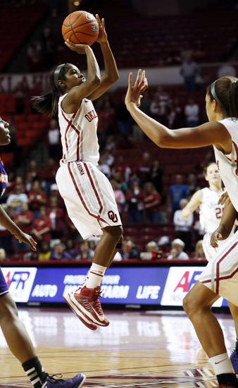 Oklahoma Sooners' Aaryn Ellenberg (3) shoots during the second half as the University of Oklahoma (OU) Sooner women's basketball team plays the Northwestern State Lady Demons at the Lloyd Noble Center on Thursday, Nov. 29, 2012  in Norman, Okla. Photo by Steve Sisney, The Oklahoman