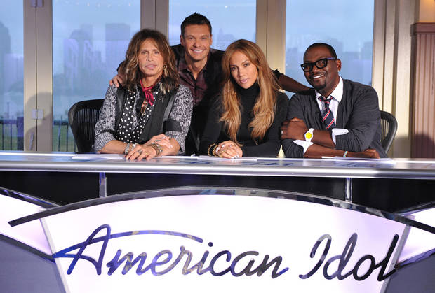 "TV / TELEVISION SERIES: ""American Idol"" judges Steven Tyler, Ryan Seacrest (host), Jennifer Lopez and Randy Jackson"