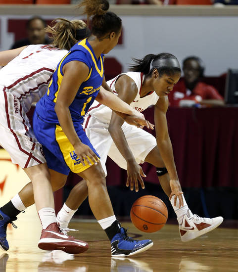 Oklahoma&#039;s Aaryn Ellenberg (3) scoops up a loose ball in front of Tre&#039;Shonti Nottingham (14) as the University of Oklahoma Sooners (OU) play the Riverside Highlanders in NCAA, women&#039;s college basketball at The Lloyd Noble Center on Thursday, Dec. 20, 2012  in Norman, Okla. Photo by Steve Sisney, The Oklahoman