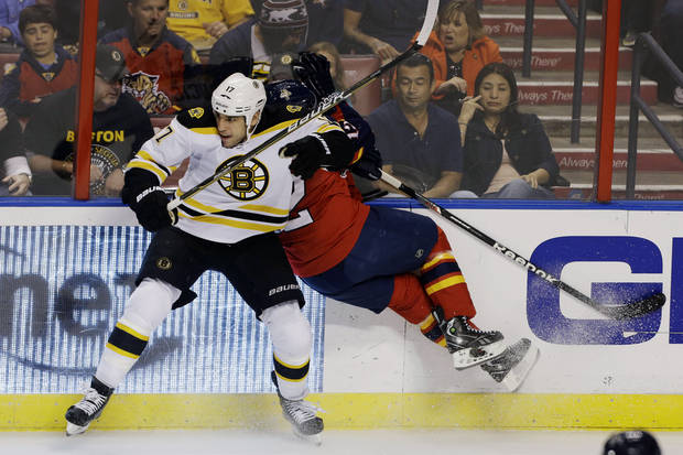 Boston Bruins' Milan Lucic (17) slams Florida Panthers' Jack Skille (12) into the glass as they chase the puck during the first period of an NHL hockey game in Sunrise, Fla., Sunday, Feb. 24, 2013. (AP Photo/J Pat Carter)