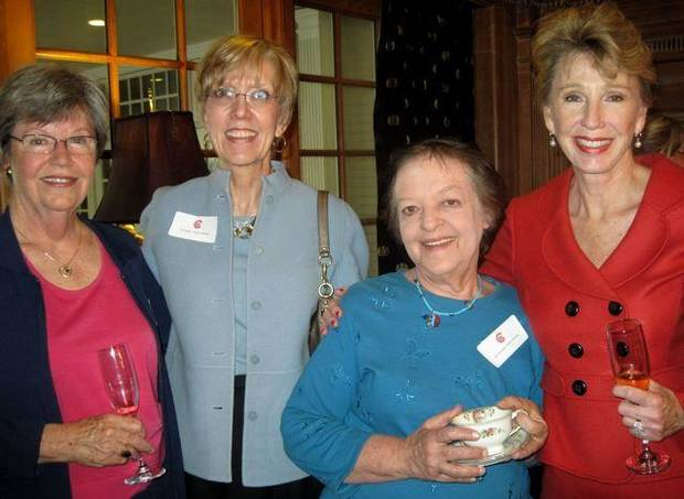 AFTERNOON TEA...Sigrid Bowman, Ann Larson, Ann DeFrange, Ann Felton Gilliland, all former Byliner Award winners, were at the Tea for current and past winners. The tea was hosted by the members of the Association for Women In Communication.(Photo by Helen Ford Wallace).