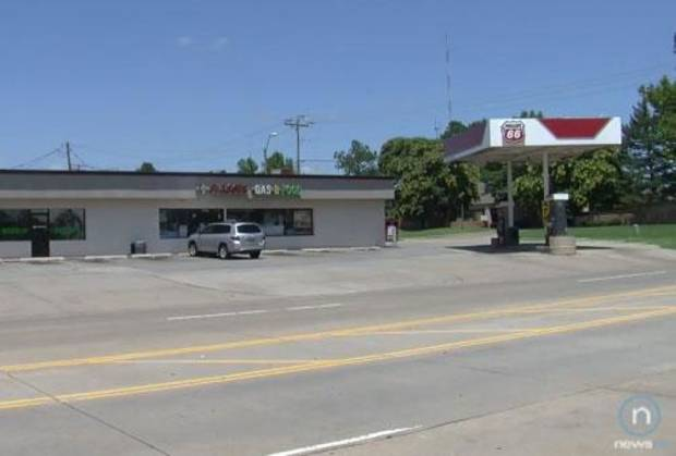 The convenience store in which the victim worked is seen in this image from NewsOK.com video.