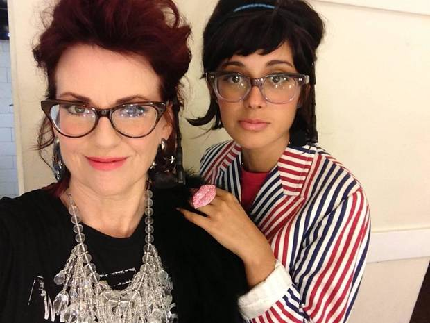 Oklahoma native Megan Mullally, left, and fellow actress Stephanie Hunt perform as the singing duo Nancy and Beth.
