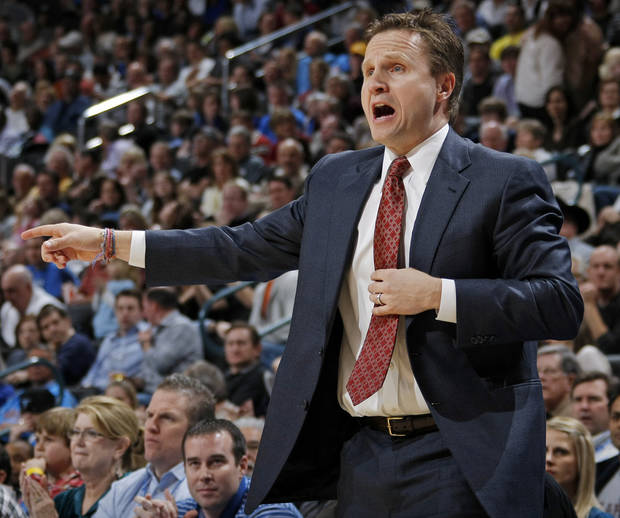 Thunder head coach Scott Brooks gives instructions to his team during the NBA basketball game between the Washington Wizards and the Oklahoma City Thunder at the Oklahoma City Arena in Oklahoma City, Friday, January 28, 2011. Photo by Nate Billings, The Oklahoman