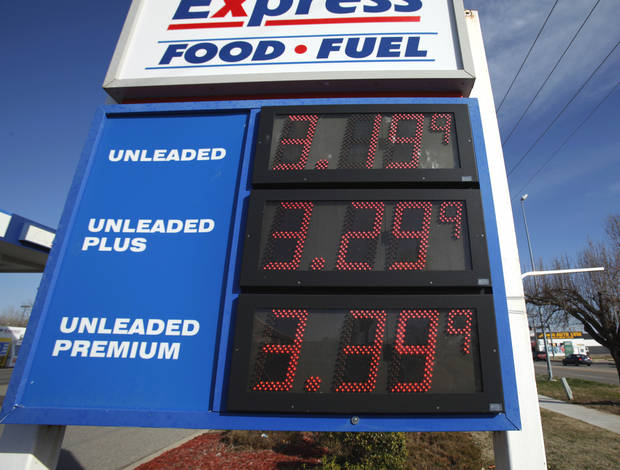 Signs display high gas prices on Tuesday, Jan. 31, 2012, in Norman, Okla.   Photo by Steve Sisney, The Oklahoman