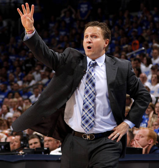 Oklahoma coach Scott Brooks shouts during Game 4 of the Western Conference Finals between the Oklahoma City Thunder and the San Antonio Spurs in the NBA playoffs at the Chesapeake Energy Arena in Oklahoma City, Saturday, June 2, 2012. Oklahoma CIty won 109-103. Photo by Bryan Terry, The Oklahoman