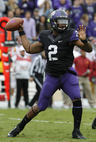 TCU quarterback Trevone Boykin (2) passes during the first half of an NCAA college football game against Iowa State, Saturday, Oct. 6, 2012, in Fort Worth, Texas. (AP Photo/LM Otero)
