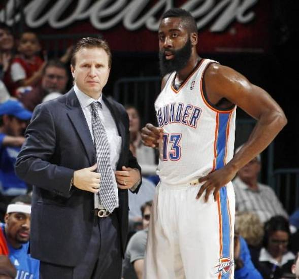Thunder coach Scott Brooks (left) is one win away from coaching the Western Conference All-Star team. Will James Harden be selected as one of his reserves?