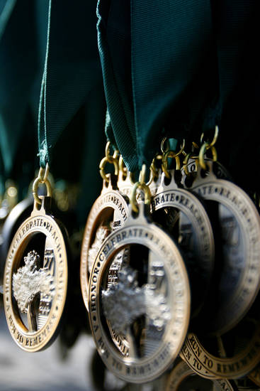 Medals hang at the finish line of the Oklahoma City Memorial Marathon, Sunday, April 27, 2008.  BY BRYAN TERRY, THE OKLAHOMAN