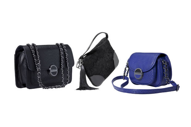 From left: Classic convertible handbag in black, tassel wristlet in black lace, small crossbody handbag in blue, all from Kirna Zabete for Target collection. Photo provided. <strong>Paul.Weber</strong>