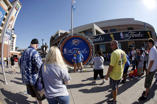 Fans get their picture taken before Game 1 of the NBA Finals between the Oklahoma City Thunder and the Miami Heat at Chesapeake Energy Arena in Oklahoma City, Tuesday, June 12, 2012. Photo by Bryan Terry, The Oklahoman