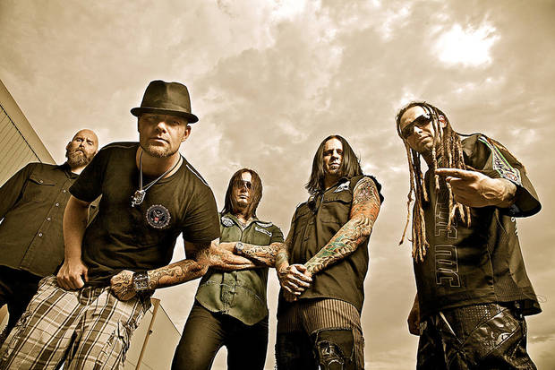 Five Finger Death Punch, from left: Chris Kael, Ivan Moody, Jason Hook, Jeremy Spencer and Zoltan Bathory. PHOTO PROVIDED <strong></strong>