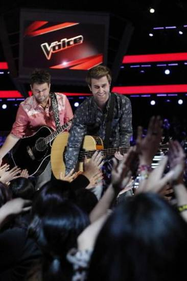 "The Swon Brothers appear on ""The Voice."""