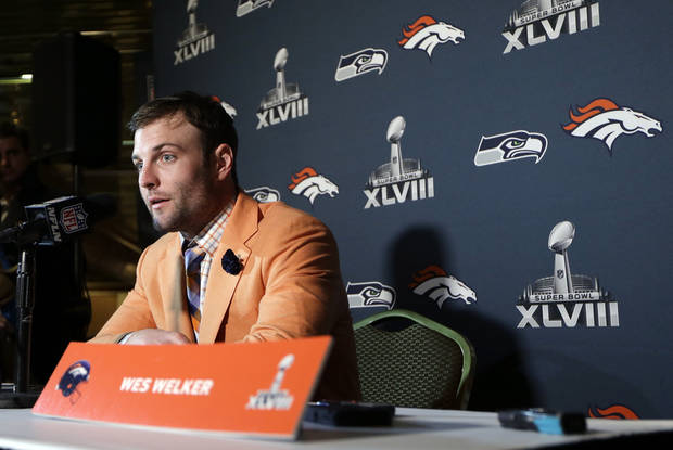 Denver Broncos wide receiver Wes Welker talks with reporters during a news conference Sunday, Jan. 26, 2014, in Jersey City, N.J. The Broncos are scheduled to play the Seattle Seahawks in the NFL Super Bowl XLVIII football game Sunday, Feb. 2, in East Rutherford, N.J. (AP Photo/Mark Humphrey)