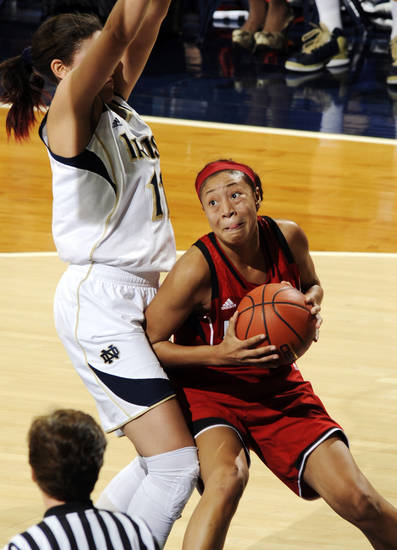 Louisville guard Anotinta Slaughter, right, looks to shoot over Notre Dame forward Natalie Achonwa in the first half of an NCAA college basketball game, Monday, Feb. 11, 2013, in South Bend, Ind. (AP Photo/Joe Raymond)