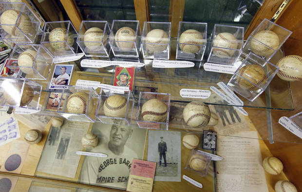 BASEBALL COLLECTION: This collection of autographed baseballs is on display at the Oklahoma Sports Hall of Fame in Guthrie, OK, Thursday, April 11, 2013,  By Paul Hellstern, The Oklahoman