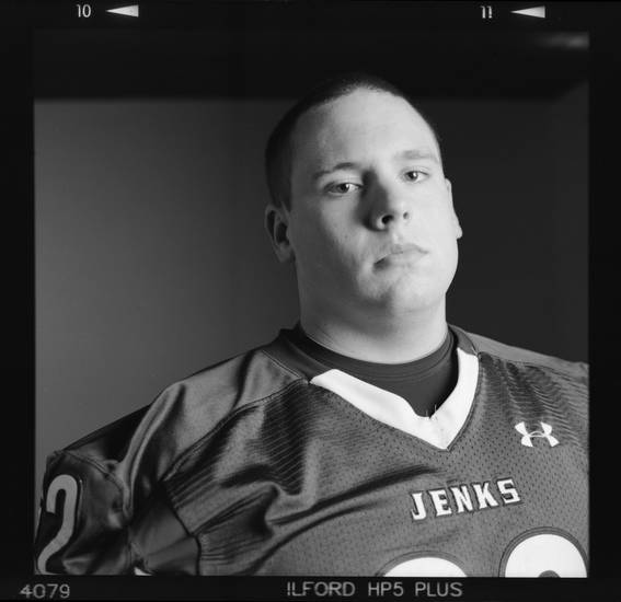 All-State high school football player Brandon Waggoner of Jenks poses for a photo in Oklahoma City, Monday, Dec. 17, 2012. Photo by Nate Billings, The Oklahoman