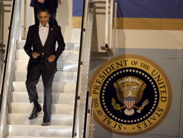President Barack Obama exits Air Force One at Tinker Air Force Base in Midwest City, Wednesday, March 21, 2012. President Obama is in town for a visit to Cushing, Okla., on Thursday. Photo by Bryan Terry, The Oklahoman