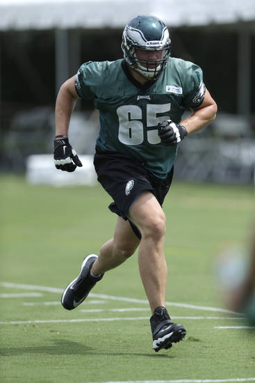 Philadelphia Eagles' Lane Johnson runs a drill at the NFL football team's training camp in Philadelphia, Tuesday, July 23, 2013. Taylor, a rookie out of Oklahoma, is said to be perfect for new Eagles coach Chip Kelly's offense because of his quickness. (AP Photo/Matt Rourke)
