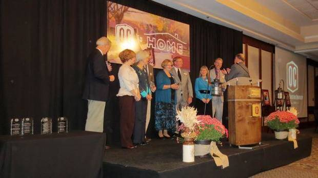 Honorees at the Oklahoma Christian University Alumni Banquet recently were Jose Freede, Dr. Lynn McMillion, Dr. James Cail, Dr. Stafford North, Dr. Bailey McBride, Wil Norton and Henson Adams and four special couples. (Photo by Helen Ford Wallace).