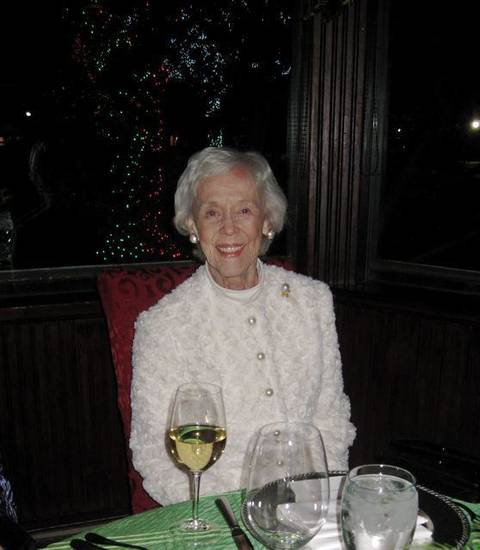 SPARKLE AND SHIMMER...Marylin Upsher wore a gorgeous holiday sweater. (Photo by Helen Ford Wallace).