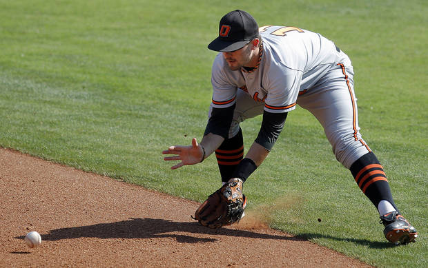 Oklahoma State's Robbie Rea fields a grounder during the Big 12 baseball tournament game between Oklahoma State University and the University of Oklahoma at the Chickasaw Bricktown Ballpark in Oklahoma City,  Wednesday, May 23, 2012. Photo by Sarah Phipps, The Oklahoman.