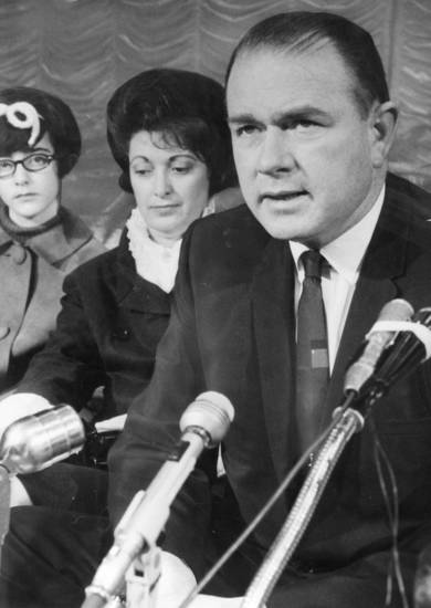 Candidacy for the US Senate was announced by former Gov. Henry Bellmon at an Oklahoma City press conference.  With Bellmon is his wife Shirley Bellmon and daughter Ann Bellmon.      3/3/1968