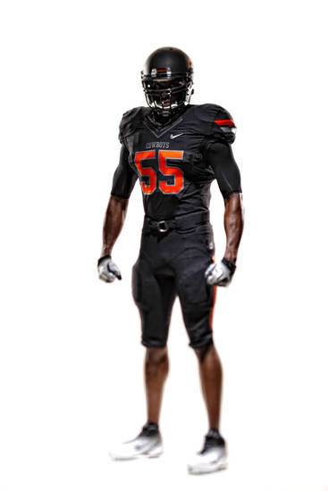 An all-black version of Oklahoma State&#039;s new uniforms. PHOTO PROVIDED