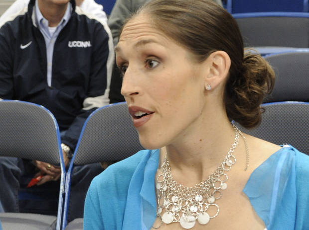 Former Connecticut player Rebecca Lobo is now a top women�s basketball broadcaster for ESPN. AP Photo