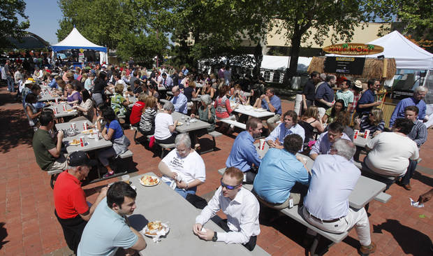 Food court filled fast during opening day of the Festival of the Arts in downtown Oklahoma City TUesday, April 24, 2012. Photo by Doug Hoke, The Oklahoman