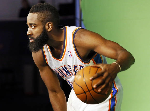 James Harden poses for a photo during media day for the Oklahoma City Thunder NBA basketball team at the Thunder Events Center in Oklahoma City, Monday, Oct. 1, 2012.  Photo by Nate Billings, The Oklahoman