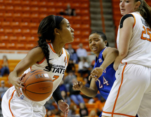 Oklahoma State's Tiffany Bias (3) moves toward the basket as Kansas' CeCe Harper (24) and Oklahoma State's Lindsey Keller (25) watch during a women's college basketball game between Oklahoma State University (OSU) and Kansas at Gallagher-Iba Arena in Stillwater, Okla., Tuesday, Jan. 8, 2013. Oklahoma State won 76-59. Photo by Bryan Terry, The Oklahoman