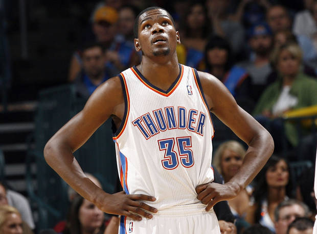 Oklahoma City's Kevin Durant looks up at the scoreboard during the NBA game between the Oklahoma City Thunder and the Boston Celtics, Sunday, Nov. 7, 2010, at the Oklahoma City Arena. Photo by Sarah Phipps, The Oklahoman