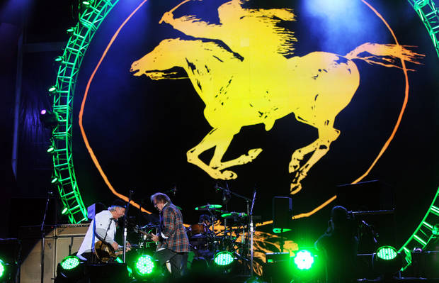 Neil Young, right, performs with Frank Sampedro from his band Crazy Horse at the Global Citizen Festival in Central Park on Sept. 29 in New York. AP PHOTO <strong>Evan Agostini</strong>