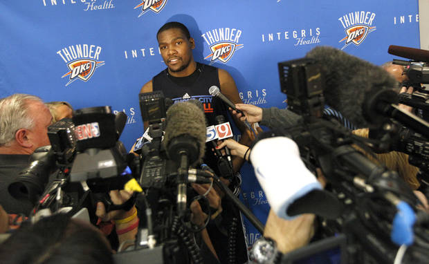 Oklahoma City's Kevin Durant talks to the media during Oklahoma City Thunder's practice at their new facility in Oklahoma City, Friday, Dec. 9, 2011. Photo by Sarah Phipps, The Oklahoman