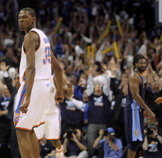 Oklahoma City's Kevin Durant (35) reacts after making the final basket during the NBA basketball game between the Denver Nuggets and the Oklahoma City Thunder in the first round of the NBA playoffs at the Oklahoma City Arena, Wednesday, April 27, 2011. Photo by Bryan Terry, The Oklahoman