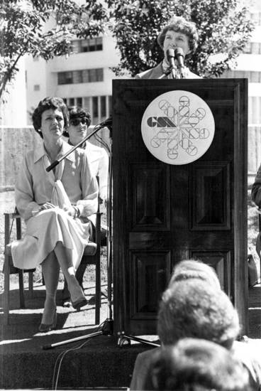"ART, ARTWORK DEDICATION: ""Three influential women were on the platform during dedication of artworks in the new Alfred P. Murrah Federal Building.  Here, Oklahoma City Mayor Patience Latting speaks while, from left, Joan Mondale and Molly Boren listen."" Staff photo by Doug Hoke taken 6/7/78; photo ran in the 6/8/78 Daily Oklahoman."