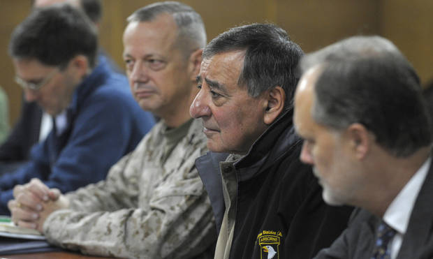U.S. Defense Secretary Leon Panetta, second from right, listens during a meeting with Afghanistan's Defense Minister Gen. Bismillah Khan Mohammadi (not pictured) in Kabul, Afghanistan, Thursday, Dec. 13, 2012. Panetta is flanked by Marine Gen. John R. Allen, left, commander of International Security Assistance Force, and U.S. Ambassador to Afghanistan James B. Cunningham, right. (AP Photo/Susan Walsh, Pool)