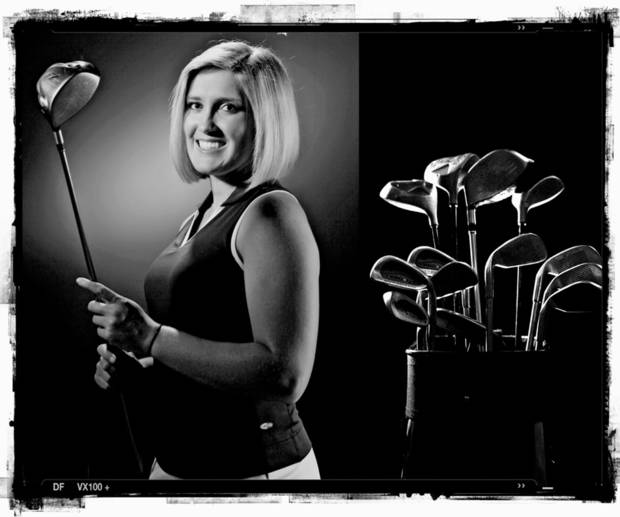 SECOND PLACE, PHOTO PACKAGE:  Norman North High School's Kaitlin Higginbotham golf player of the year Spring sports honor roll shot in the OPUBCO studio on Thursday, May 22, 2008, in Oklahoma City, Okla.  PHOTO ILLUSTRATION BY CHRIS LANDSBERGER, THE OKLAHOMAN