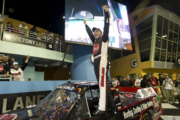 Cale Gale celebrates after winning the NASCAR Nationwide Truck Series auto race on Friday, Nov. 16 2012, at Homestead-Miami Speedway in Homestead, Fla. (AP Photo/J Pat Carter)