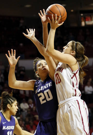 Oklahoma's Morgan Hook (10) shoots against Kansas State's Brianna Craig (20) during an NCAA women's college basketball game between the University of Oklahoma (OU) and Kansas State at Lloyd Noble Center in Norman, Okla., Wednesday, Feb. 20, 2013. Photo by Nate Billings, The Oklahoman