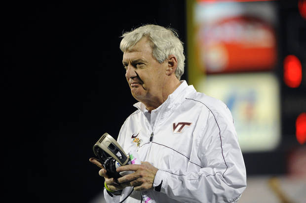 Virginia Tech head coach Frank Beamer looks on from the sidelines during the third quarter of an NCAA college football Russell Athletic Bowl game against Rutgers, Friday, Dec. 28, 2012, in Orlando, Fla. (AP Photo/Brian Blanco)