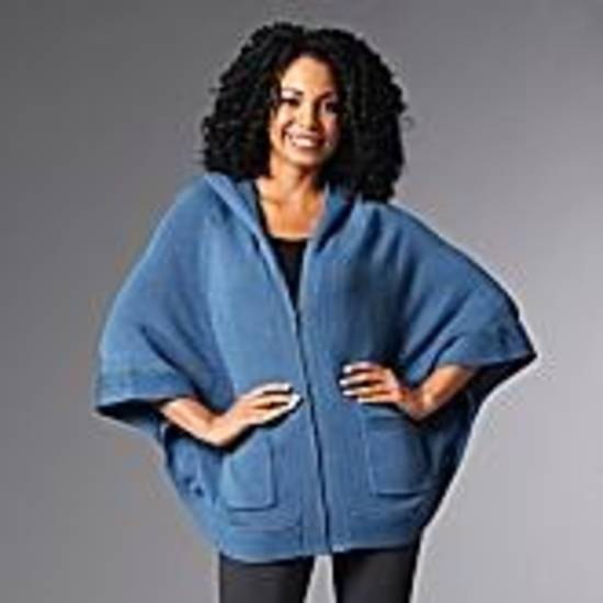 Queen Latifah's Queen Collection sweater poncho, $89.90 on HSN.
