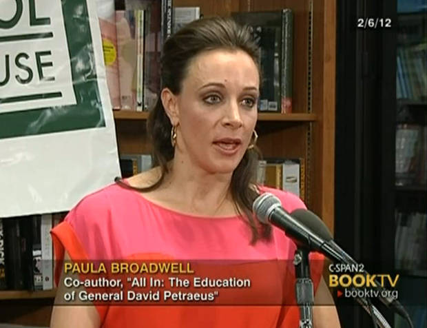 "In the frame grab from C-SPAN Book TV video taken Feb. 6, 2012, author Paula Broadwell speaks to an audience about the book she co-authored, ""All In: The Education of General David Petraeus,"" at the Politics and Prose bookstore in Washington. The scandal that brought down CIA Director David Petraeus started with harassing emails sent by his biographer and paramour, Broadwell, to another woman, and eventually led the FBI to discover he was having an affair, U.S. officials told The Associated Press on Saturday, Nov. 10, 2012. Petraeus quit Friday, Nov. 9, after acknowledging an extramarital relationship. (AP Photo/C-SPAN Book TV)"