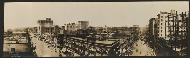 The Oklahoma City skyline as photographed on April 22, 1910.  OKLAHOMA HISTORICAL SOCIETY PHOTO <strong></strong>
