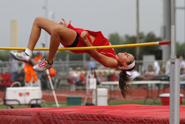 HIGH SCHOOL TRACK AND FIELD: Ann Freeman, of Tehoma High School, participates in girls Class A high jump during a track meet at Carl Albert High School in Midwest City, Friday, May 4, 2012.  Freeman one the high jump event for Class A women.  Photo by Garett Fisbeck, For The Oklahoman