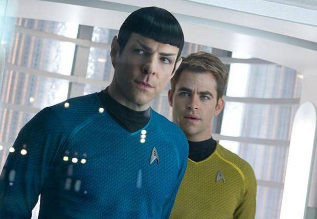 "Zachary Quinto and Chris Pine in ""Star Trek: Into Darkness.""  Paramount. <strong></strong>"