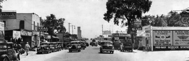 Hub Cap Alley, S Robinson Avenue between downtown and the Oklahoma River, was a busy cross-country highway when this photo was taken on May 13, 1940, by the Oklahoma City Times. Oklahoman Archives Photo